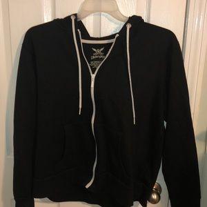 Black Zip Up hoodie With white zipper